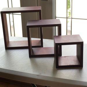 3-Piece ⭐️ Wall Cube Floating Shelf ⭐️ Dark Brown